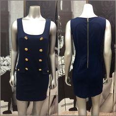 Nautical Dress Very Cute Navy Blue & Gold Forever 21 Dress with Nautical Buttons & Gold Back Zipper! Excellent Condition! 75% Polyester 20% Rayon 5% Spandex Forever 21 Dresses Midi