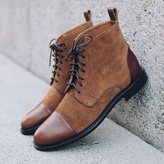 Stylish Handmade Men's Brown Cap Toe Dress Ankle Boots, Men Leather Suede Designer Boots Upper: High Quality Leather & Suede Inner: soft leather Sole: Leather Gender: Male Heel: Leather Style: Ankle High Boots, Cap Toe Boots, Lace Up Color: Ankle Boots Dress, High Ankle Boots, Buckle Ankle Boots, Leather Ankle Boots, Suede Boots, Lace Up Boots, Leather And Lace, Suede Leather, Leather Men