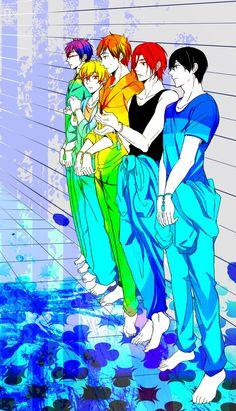 Gorgeous colours ...  Free! - Iwatobi Swim Club, haruka nanase, rin matsuoka, haru nanase, rin, haru, free!, iwatobi, makoto tachibana, nagisa hazuki, makoto, nagisa, tachibana, hazuki, rei ryugazaki, rei, ryugazaki, matsuoka