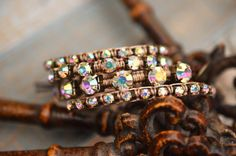 Rhinestone Leather Bracelet  Spring Collection  by TurquoiseCrush, $25.00