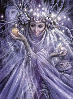 Brian Froud - Fairy Godmother  This is one of my favorites by him, I love the headdress and the little lights