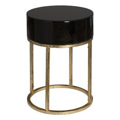 24642 Myles Side Table Round Dia 18 H 26 Black Top $367.50 #1Foot #2Foot