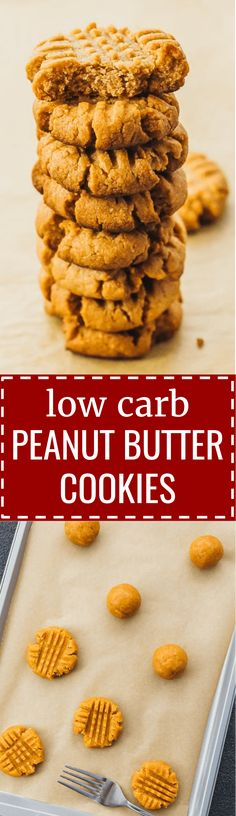 How to make low carb peanut butter cookies, homemade from scratch. 3 ingredients / almond flour / easy / no bake / keto / sugar free / best / flourless / swerve / chewy / protein / fat bombs / soft / food / dreams / dessert recipes / treats / holidays / parties / snacks / kids / simple / clean eating / ovens / sweets / low carb / diet / atkins / induction / meals / recipes / easy / dinner / lunch / foods / healthy / gluten free / paleo #peanutbutter #cookies #keto