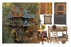 """""""Tree House"""" by bren-johnson ❤ liked on Polyvore featuring interior, interiors, interior design, home, home decor, interior decorating, DutchCrafters, Danya B, Nearly Natural and Stanley Furniture"""