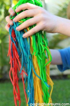 DIY Rainbow Spaghetti… so much FUN for kiddies!
