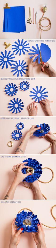 Tuto pour réaliser une fleur en papier à mettre autour d'une lampe. tuto-paper-flower-Lampe-à-Poser-maieboude-cr