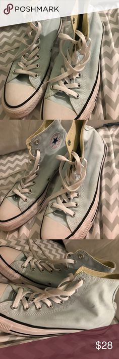 Light Blue Hightop Converse Great condition.Only wore a few times.Clean and very cute.Make offers😊 Converse Shoes Sneakers