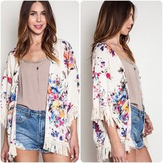 • Pink Royal Floral Kimono • Light weight cardigan perfect for summer nights. Available in Small (0-4) Medium (6-8) and Large (10-12). Please comment with your size choice and I'll create a new listing for you. Price is firm unless bundled. Sweaters Shrugs & Ponchos