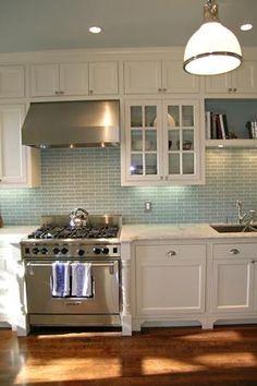 colours (white, robin's egg blue and timber flooring) & splash back #GlassShelvesBackSplashes