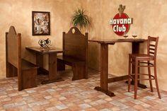 Bench set 025. Benches and table in dark walnut-varnished solid Swedish pine wood. Set panche 025. Panche e tavolo in pino di Svezia massello e tinti color noce scuro.