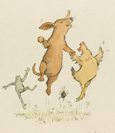 Four Jumping Animals, 116 by 110mm., ink and watercolour drawing, signed and dated by Helen Oxenbury.