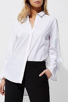 White tie cuff detail long sleeve shirt