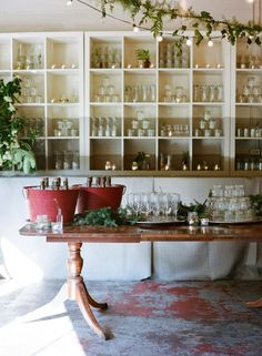 Glassware display and storage.