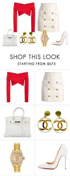 """Untitled #358"" by youngandrich on Polyvore featuring Issa, Balmain, Hermès, Chanel, Rolex and Christian Louboutin"