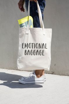 Emotional Baggage - Printed natural canvas funny and humorous tote bag.  --------------------------- BAG DETAILS ---------------------------
