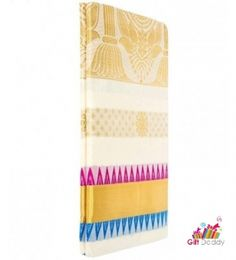 Kerala Settu Saree With Embroidery Works Gift Daddy Birthday Gifts