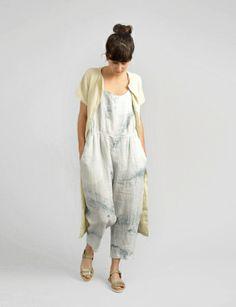 Black Crane linen sleeveless tie dye overall at Bird : ShopBird.com #shopbird15 #ss14
