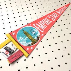 Vintage Empire State Building Souvenir Felt Pennant (1960s)  #americana #pennants #souvenirs #roadtrips #vintagedecor #vintagestyle #retro #retrostyle #newyorkcity #empirestatebuilding #souvenirpennant