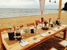 Tablescape for Leo - Roma's Beach Wedding Reception catered & styled by Auster's Catering & Events Planning.  Venue: Kota Keluerga, San Juan, Batangas, Philippines Date: Aug. 8, 2015