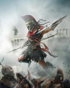 This is Sparta Greek Warrior, Fantasy Warrior, Fantasy Art, Gladiator Tattoo, Arte Assassins Creed, Assassins Creed Odyssey, Spartan Warrior, Viking Warrior, Christus Tattoo
