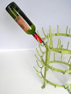 Vintage French Wine Bottle Drying Rack