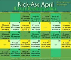 TODAY is the DAY!!!! Kick-Ass April monthly workout calendar #fitness #calendar from http://@shrinkingjeans
