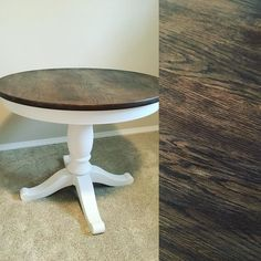 "The table is finally finished  I used Rustoleum's chalk paint ""White Linen"" and…"