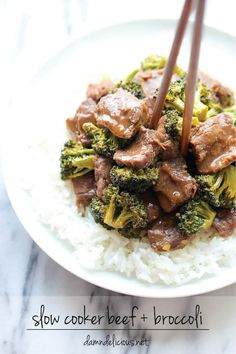 Slow Cooker Beef and Broccoli - A Chinese take-out favorite that can be made right in the slow cooker – no sauteing, no stirring, no frying. It doesn't get easier than that!