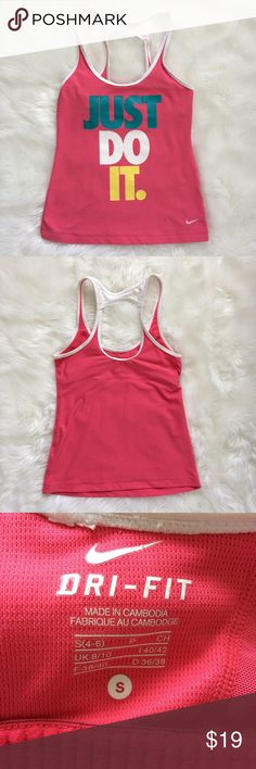 Nike Just Do It Dri-Fit Racerback Tank Top Size Sm Nike JUST DO IT Dri Fit Tank Racerback Style  Size Small  21 inches length, 14.5 inches armpit to armpit  92% Polyester , 8% Spandex       Disclaimer: clothing is laundered on cold ( with dreft scent free and gentle ) and hung dry when necessary . Unless the it is new with tags . Nike Tops Tank Tops