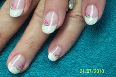slice of watermelon on french - Nail Art Gallery