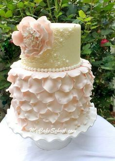 Pale pink and cream cake. Perfect for a baby shower or wedding.