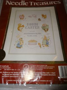 Beatrix Potter 02577 Cross Stitch Kit Peter Rabbit Sealed Baby Birth Sampler NEW #NeedleTreasures #Sampler