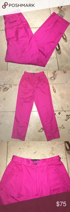 VINTAGE HOT PINK POLO PANTS Like new condition. Amazing hot pink Ralph Lauren Polo trousers with front pleating. The perfect pants to dress up or down, for golf, work or a night out. Adjustable buttons on waist. Tag reads size 6 | Waist 25"