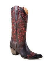 Stetson Boots-Women's Rustic Brown Vamp With Wine Underlay Boot