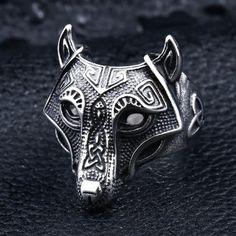 Hommes Acier Inoxydable 316 L Norse Jewlery viking wolf Paw Vantage Ring