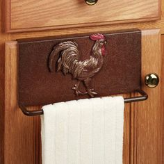 Rooster Metal Slip Over Kitchen Towel Bar. Never thought of myself as a chicken/rooster kinda gal, but having hens makes me feel like i can relate to this theme now!