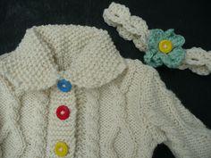 Irish Aran 100% Wool. Hand knit Girls Aran Sweater With Headband.Traditional Aran Wool, Handmade To Order. by olivesuniquecrochet on Etsy
