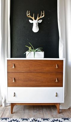 Love this style of dresser /// painted mid century modern dresser/ painted chest/ painted nightstand/ broyhill Upcycled Furniture, Shabby Chic Furniture, Painted Furniture, Diy Furniture, Furniture Design, Furniture Stores, Furniture Outlet, Furniture Online, Kitchen Furniture