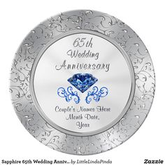 Sapphire 65th Wedding Anniversary Gift CLICK On The Personalized Plate Or GO HERE