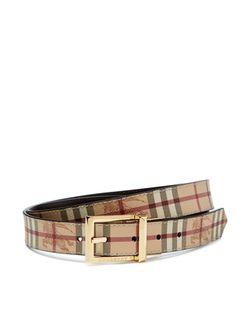 Burberry Webster Haymarket Check Reversible Buckle Belt