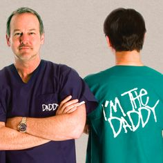 """I'm The Daddy®"" medical scrubs -- great gift idea for expectant dads."