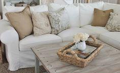 White slip covered sofa.