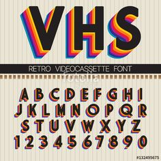 Find Retro Font Vector Vhs Alphabet stock images in HD and millions of other royalty-free stock photos, illustrations and vectors in the Shutterstock collection. Thousands of new, high-quality pictures added every day. Lettering Tutorial, Typographie Fonts, 90s Design, Retro Graphic Design, Funky Design, Vintage Graphic, Retro Vintage, Aesthetic Fonts, Typographie Inspiration