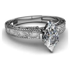 Image detail for -Estate Marquise Cut Diamond Engagement Ring w/Accents Solid 14k White ...