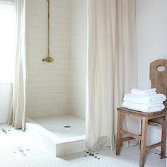 Corner Walk In Shower With Two Linen Shower Curtains