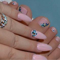Pale Pink & Rhinestone Nails