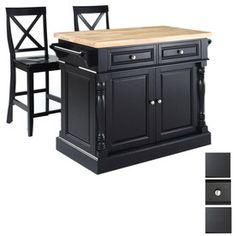 Crosley Furniture 48-1/4-in L x 23-in W x 36-in H Black Kitchen Island