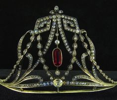 Edwardian Tiara, Europe (ca. 1900-1920; paste gemstones, silver, silver-gilt).