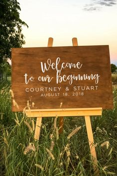Wooden wedding welcome sign - Welcome to our beginning personalised signs. #Welcometoourbeginning #woodsigns #weddingdecor