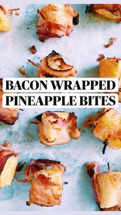 Breakfast Appetizers, Bacon Appetizers, Appetizers For Party, Appetizer Recipes, Bacon Recipes, Fruit Recipes, Cooking Recipes, Bacon Wrapped Pineapple, Popular Appetizers